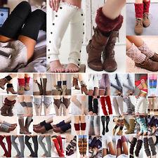 Women Knit Leg Warmer Trim Boot Toppers Girls Crochet Cuffs Cover Leggings Socks