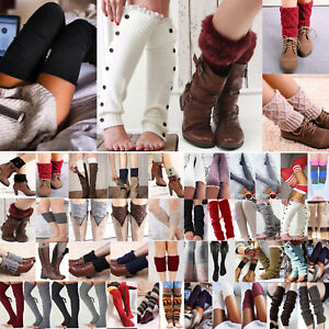 Womens Ladies Knitted Leg Warm Boots Toppers Crochet Casual Cuffs Cover Socks