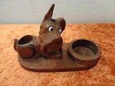 Art Deco Wood Dog Terrier - Carving/Handmade - Desk Accessory