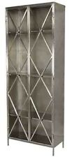 "84"" Tall Guglielmo Cabinet Silver Metal Embellished Double Doors Glass Panels"