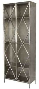 """84"""" Tall Guglielmo Cabinet Silver Metal Embellished Double Doors Glass Panels"""