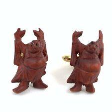 Vintage Carved Wooden Buddha Cufflinks w/ Eyes - Rare