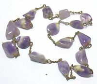 """VICTORIAN NATURAL AMETHYST GOLD FILLED NECKLACE 24""""  65 GRAMS"""