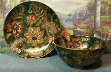 Toyo Trading Co. Vtg. New Country Gear Gold/Turquoise/Multi Plate and Bowl