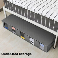 Set Of 2 Large Under Bed Storage Bag Non Woven Bamboo Underbed Clothes Organiser