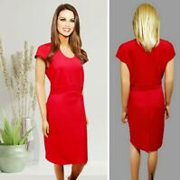 GEORGE DRESS SIZE 16 RED CAP SLEEVE STRETCH JERSEY MIDI PENCIL NO LINING #27