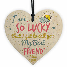Thank You Best FRIEND Gifts Wood Heart Christmas Friendship Gift Birthday Plaque