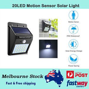 20 LED Solar PIR Motion Sensor Garden Outdoor Security Wall Light Wireless Light