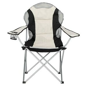 Folding Camping Chair High Back Padded Seat Cup Holder Outdoor with Carrying Bag