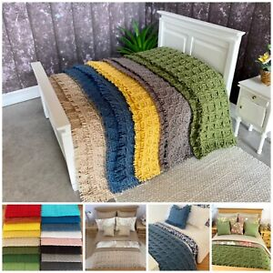 Miniature doll house 12th scale bedding - cotton waffle style throw blanket Lge