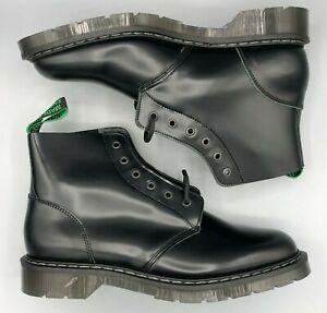 SOLOVAIR Black Hi-Shine 6 Eye Derby Boot, UK:9, EU:43, US:10, NEW WITH BOX