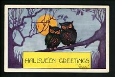 Halloween postcard Whitney WH41-5 Owl greetings fantasy Vintage