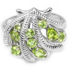 NATURAL AAA APPLE GREEN PERIDOT MIXED SHAPE STERLING 925 SILVER RING SIZE 8.5