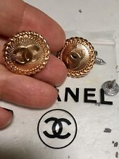 set 2 bottoni vintage metallo Logo Chanel - mm. 22 - colore oro rosa