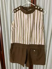 1960's Shorts Dress-  M- Chocolate Brown w/Pink/White Stripes- CHIC & CUTE