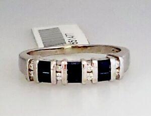 KEEPSAKE 14K W Gold .50ctw Baguette Sapphire Diamond Channel Set Band Ring THL