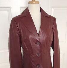 East Fifth Leather Jacket Coat Women S Small Button Up Cabernet Red Burgundy