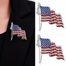 American Flag USA National Flag Star Lapel Pins Crystal Rhinestone Brooch Badge