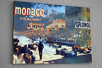 "Monaco F1 1969 A3  Clip Glass Framed Canvas Print Signed ""Great Gift"""