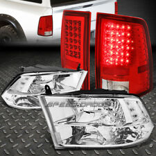 CHROME HOUSING CLEAR SIDE QUAD HEADLIGHT+LED RED TAIL LAMP FOR 10-17 DODGE RAM