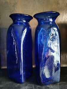 Vase Blumenvase Bodenvase Glas Kobalt Blau 2 Stück
