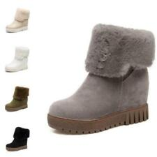 Women's Snow Ankle Boots Fur Warm High Wedge Heel Suede Fabric Shoes 41 42 43 D