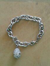 HSN Technibond Sterling Silver Chain Bracelet with Egg Charm $129