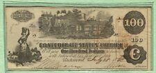 Original Civil War 1862 Confederate $100 Hand Signed High Grade T-39 Note