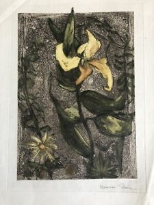 """NORMAN STONE Limited Edition Intaglio ETCHING """"Yellow Flower"""""""