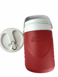 Coleman Brand Red / White Plastic Beverage Jug Container with Screw Top Lid