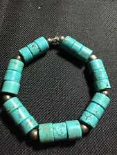 """Blue Turquoise Heishe 7x10mm and  6mm Bali Tibet 880 Silver Beads 7-8"""" Bracelet"""