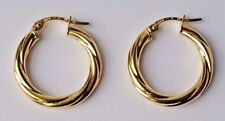 14ct Yellow Gold Twist Hoop Creole Earrings 1.32g NEW Xmas Gift Mum Wife 585 14k