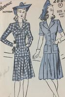 1940's VTG Advance Sewing Pattern 2886 Two-Piece Suit Bust 30