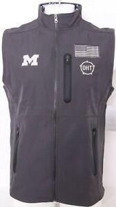 NEW Michigan Wolverines Colosseum Hat Up Full Zip Flag Gray Vest Men's L