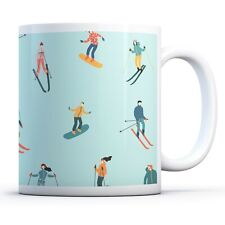 Skiing Pattern - Drinks Mug Cup Kitchen Birthday Office Fun Gift #16991