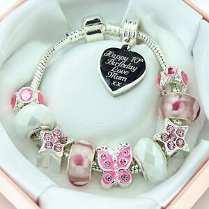 ENGRAVED Jewellery For Girls Pink White Charm Bracelet PERSONALISED Gift Box