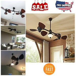 Double Ceiling Fan Twin Harbor Breeze Ii Outdoor Downrod Oil rubbed Bronze 74""