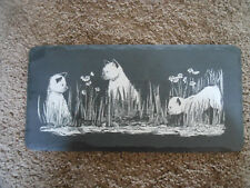 VINTAGE SLATE WALL HANGING WITH 3 SIAMESE CATS AND FLOWERS, BY THYRA YOUNG