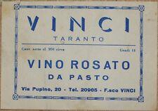 ETICHETTA VINO ROSATO DA PASTO VINCI TARANTO PUGLIA WINE LABEL LABELS