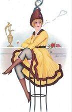 XAVIER SAGER Series 32 Noyer Cocktails Bar Sexy Girl Circa 1915 PC CPA