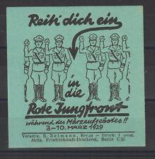 German Poster Stamp Germany Political 1929 Imperfs Large