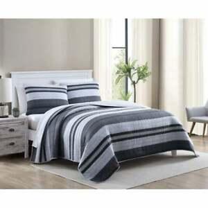 NAUTICA Ardmoore Navy Blue Twin Striped Comforter Quilt NEW