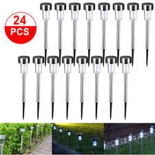 24 PCS Garden Outdoor Stainless Steel LED Solar Landscape Path Lights Lamp USA