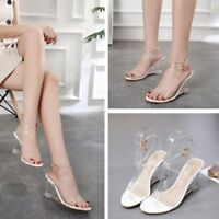 Women Slingback Sandals Cross Strap Transparent Wedge Heel Open Toe Casual Shoes