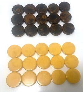 "Vintage Bakelite Backgammon Chips 30 Piece Set 1 1/8 x 1/4"" Brown /ButterScotch"