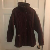 Vintage Womens SPYDER Ski Jacket 80s Size 8 Thinsulate Coat Maroon  Embroidered