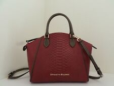 NWT AUTH DOONEY & BOURKE CALDWELL SYDNEY EMBOSSED LEATHER SATCHEL-$328-WINE
