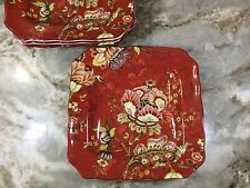 Gabrielle Red Square Side Plates. 8.5 Inch. Set of 4. Porcelain. New.