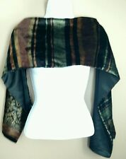 "Women's Scarf Velvet Satin Black Muted Colors Soft Warm Classic 9"" x 52"""