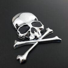 3D Chrome Metal Skull Skeleton Car Oil Trunk Tailgate Emblem Badge Decal Sticker